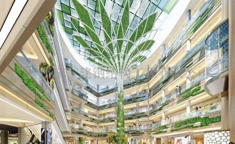 中新天津生态城起步区吉宝季景新城项目中庭钢结构景观树工程